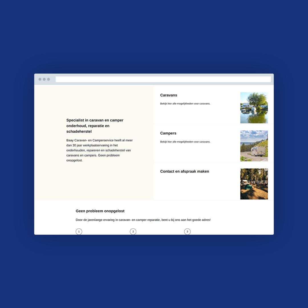 Nieuwe website voor Baay Caravans